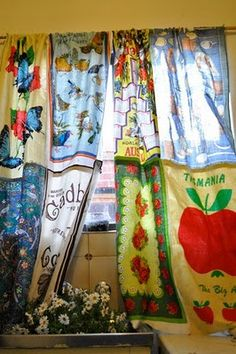 long kitchen curtains from tea towels