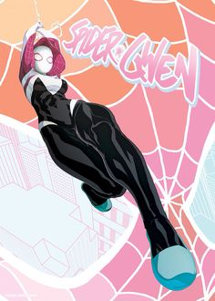 Spider-Gwen (Gwen Stacy) is a fictional superhero appearing in the Marvel Comics universe. Created by Jason Latour and Robbi Rodriguez, and first appearing in Edge of Spider-Verse #2 2014. Gwen Stacy of Earth-65, an alternate Earth, explores a universe where Gwen Stacy was bitten by the radioactive spider instead of Peter Parker forcing her into a career as the Spider-Woman of her world.