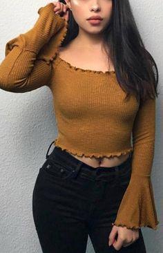 Slash Neck Frilled Bell Sleeved Knitted Crop Top