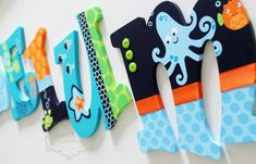 Lambs and Ivy Bubbles and Squirt Teal Blue Orange por KraftinMommy