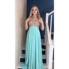 Luxurious High Neck Beaded Blue Long Formal Dress from Ladyboutiques Elegant Prom Dresses, Formal Evening Dresses, Formal Gowns, Dress Formal, Long Dresses, Senior Prom Dresses, Prom Party Dresses, Graduation Dresses, Chiffon Dress