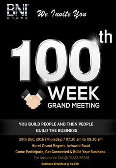 #BNI 100th Week Grand Meeting #Brochure designed by #123Coimbatore designing team => http://www.webdesign.123coimbatore.com/brochures.php