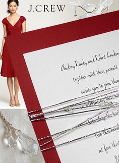 diy unique holiday lunch invitation | Red Wedding Invitations with Silver Cord and Glass Beads - Invitation ...