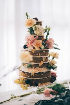 naked cake w/ fresh flowers and edible gold leaf
