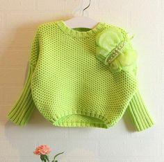 Crochet Baby Sweater - Baby Girl Winter Sweater, Neon Green Woolen Sweater, Kids Winter Wear, Knitted Butterfly Pattern, Handmade Toddler Clothing on #pinkblueindia #babysweater #sweaters #woolen #knitsweater #winterwear #babyclothing