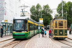 Helsinki, Finland: The newest and the oldest tram in the city met at the Market Square. The tram on the left was built this year while the vintage tram on the right is from Finland Culture, Light Rail, Train Layouts, Best Cities, Helsinki, Public Transport, Time Travel, Travel Inspiration, Trains