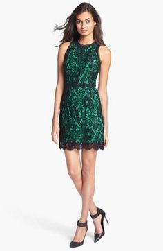 Emerald Green & Black Lace