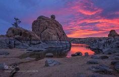 Sunrise by theresaroseditson  Arizona Prescott Watson Lake clouds lake morning reflections rock formations sky sunrise tree water