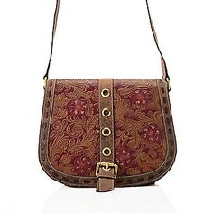"Firenze Bella ""Trista"" Tool Embossed Leather Crossbody Saddle Bag"