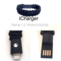 Paracord Bracelet iphone (5,5s,5c,6,6s,6s plus android charger/data Cable by Startimagine on Etsy
