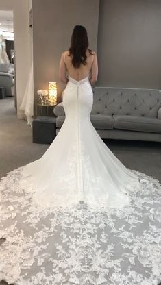 The perfect fit on this stunning Martina Liana dress is simply stunning. and just look at the gorgeous low back & STUNNING train! Wedding Dress Low Back, Crepe Wedding Dress, Fit And Flare Wedding Dress, Long Sleeve Wedding, Long Wedding Dresses, Designer Wedding Dresses, Backless Wedding, Crepe Dress, Provonias Wedding Dress