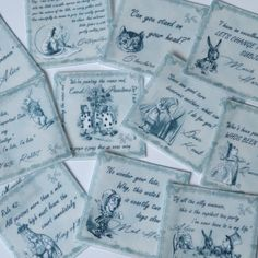 Edible Alice in Wonderland Quotes - Grey Scale - Wafer Rice Paper Cookie Decorations Mad Hatters Tea Party Wedding Cake Cupcake Toppers by WicksteadsEatMe on Etsy https://www.etsy.com/au/listing/264547805/edible-alice-in-wonderland-quotes-grey