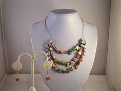 Multi Strand Multi-Color Shell Summer, Beach, Party, Sundress, Bridesmaids Necklace and Earring Set