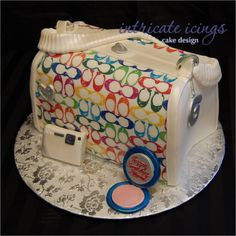 colorful coach cake purse holy smokes i so want this. Gorgeous Cakes, Pretty Cakes, Amazing Cakes, Cupcakes, Cake Cookies, Cupcake Cakes, Shoe Cakes, Crazy Cakes, Fancy Cakes