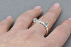 Sterling Silver Cat Ring Cat Ear Ring Cat by SuttonSmithworks