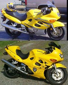 Before and after shot.  My first bike that I painted.