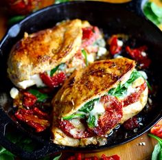 Chicken stuffed with Sundried tomatoes, ricotta and spinach