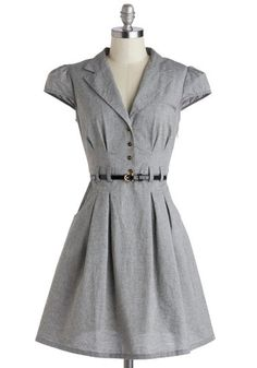 Office Chic Dress - Grey, Solid, Buttons, Pleats, Pockets, Belted, Work, Shirt Dress, Cap Sleeves, Collared, Exclusives, Woven, Mid-length
