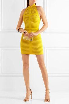 Balmain - Cutout Ribbed Stretch-knit Mini Dress - Chartreuse - FR