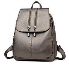 Fashion Double Zippers Women's Genuine Leather Backpack Price: 57.00 & FREE Shipping #online #shopping #market #electronics4 #pets #fitness #home #personal #beauty #bags #mobile #camera #jewellery #car #books #toys #kids #fashion Leather Laptop Backpack, Satchel Backpack, Travel Backpack, Fashion Backpack, Laptop Bag, Ladies Backpack, Travel Bags, Leather Backpacks For Girls, Girl Backpacks