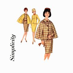 1960s Pan Am Suit & Cape Pattern Simplicity 5669 Bust 34 Womens Vintage Sewing Pattern Misses Slim Skirt Cropped Jacket Front Buttoned Cape