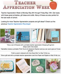 12 diy teacher appreciation projects! DIY gifts, printables and projects for teacher appreciation or the last day of school!
