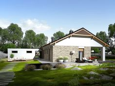 Daniel is a house designed for a family who appreciates the noble elegance, modern comfort and convenient connections and. Modern Architecture House, Modern House Design, Single Storey House Plans, 2 Bedroom House Plans, Farm Plans, Facade House, Cottage Homes, Planer, Future House