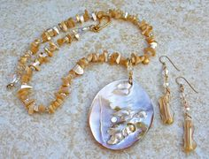 Mother of Pearl Necklace Set by KipajiPraiseJewelry on Etsy, $45.00