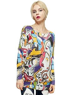 Winter Batwing Sleeve Knitted Pullover Graffiti Print