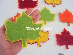 ! ✿ Tiryaki Hobi ✿ !: Keçe bardak altlığı - Çınar yaprağı(ÇINAR)