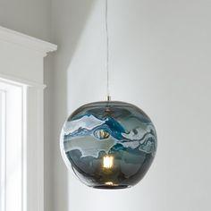 Tangerine Dream /& Clear Borosilicate Glass Pendant