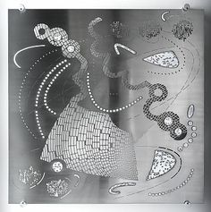 'Arcade by Beate Gegenwart. Vitreous enamel on waterjet cut stainless steel. Photoshop used for masking possibilities, Illustrator for the beauty of line drawing and for the vector paths, 60 cm x 60 cm. Vitreous Enamel, Digital Fabrication, Masking, Software Development, Line Drawing, Arcade, Paths, Illustrator, Ann