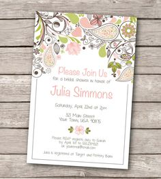Floral Pattern Wedding Invitation Template