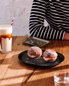 Umeboshi Cream Cheese Doughnuts served with one of Shop Ramen's famous Caramel Milk Shakes. Photo -Sean Fennessy. Styling – Lucy Feagins / ...