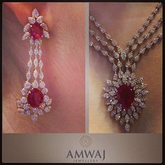 """147 Likes, 8 Comments - @amwaj_jewellery on Instagram: """"Diamond and Burmese ruby necklace and earring set from Amwaj Jewellery in Abu Dhabi showing in the…"""""""