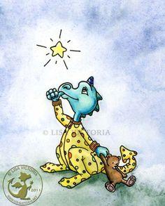 Dragon art, art print, nursery art, nursery artwork, fine art print, friendly dragon, dragon, dragons, baby Dragon, wishing star, yellow, pjs, Wishing Star Dragon, Lisa Victoria, fantasy, fantasy art, fairies, fairy tale, greeting card, magnet, sticker, children's decor, kid's wall art