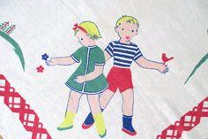 Vintage Children 's Tablecloth.