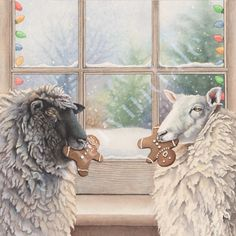 the gift exchange sheep gingerbread christmas whimsical watercolour painting cori lee marvin artist