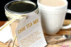 Chai Tea Mix is a unique homemade food gift for those who love Chai Tea! Use the mix to whip up everything from lattes to milkshakes, and include a free printable tag with directions for gift giving! So raise your hand if you like to make homemade food gifts for friends and neighbors during the holidays or throughout the year? (I do! I do!) However, as much as I enjoy baking and sharing Christmas cookies and quick breads, there's something