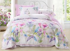 Lovely Morning Glory Print 4-Piece Tencel Duvet Cover Sets #bedding #bedroom #decor