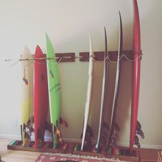 Love this surfboard rack my hunay made for our place- who says storage can't be functional and beautiful?
