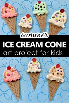 Summer Ice Cream Cone Art Project for Kids Summer Art Projects, Summer Crafts For Kids, Craft Projects For Kids, Art For Kids, Summer Fun, Kid Art, Summer School, Kids Fun, Spring Crafts