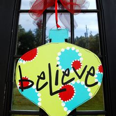 Christmas Door Hanger, Ornament Door Hanger, Christmas Door Hanger. $50.00, via Etsy.