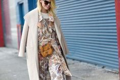 Patterned separates in neutral tones go hand-in-hand with this nude coat and cute cat purse... - Street Style