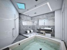 minimalistisches Badezimmer-Wände in Marmor-look-Grau-Weiß mit getrennten Bereichen