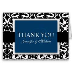 Monogram Damask Thank You Cards Navy Blue