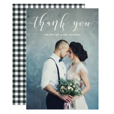 Black Gingham   Wedding Thank You with Photo Card - diy cyo customize create your own personalize