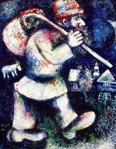 Marc Chagall (1887-1985), s'installe à Paris en 1910-1914, il retourne en Russie de 1914 à 1922, participe à la révolution, d'exile à Berlin puis à Paris en 1923, il est naturalisé français en 1937.
