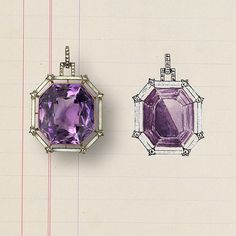 An Amethyst, Diamond and Gem-set Pendant by Faberge, pictured here with the original design.