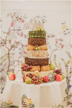 Yum, cheese wheel, pork pie and fruit cake stack!  Fantastic wedding cake alternative.